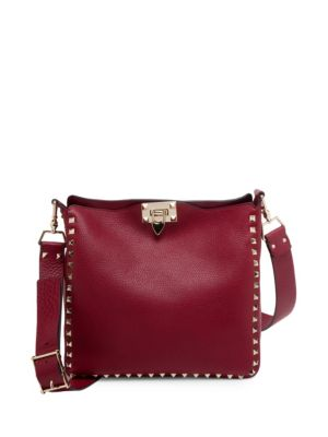 Small Rockstud Leather Hobo Bag by Valentino Garavani