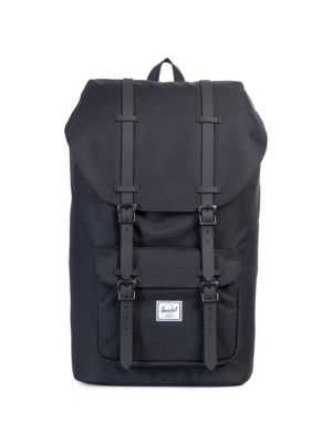 Little America Leather And Canvas Blend Backpack, Black