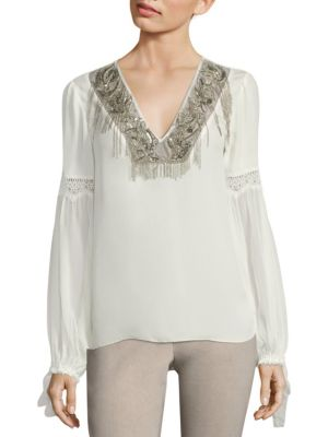 Clementine Embellished Silk Blouse by Elie Tahari