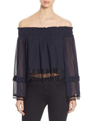 Off-The-Shoulder Silk Georgette & Lace Top by NICHOLAS