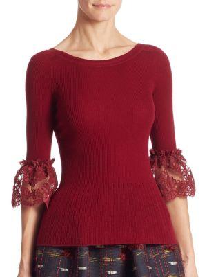 Low-Back Merino Wool Bell Sleeve Blouse by Oscar de la Renta