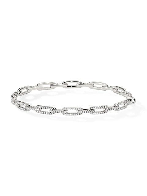 David Yurman Stax 18K White Gold & Pavé Diamond Chain Link Bracelet