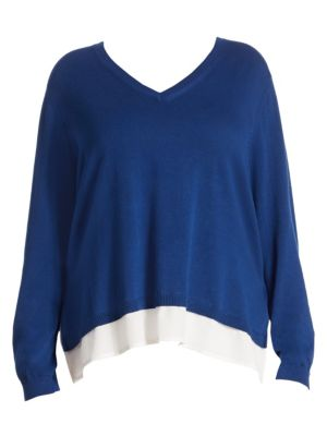 Hi-Lo Contrast Hem Sweater by joan vass