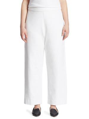 Joan Vass Stretch-Cotton Interlock Wide-Leg Pants