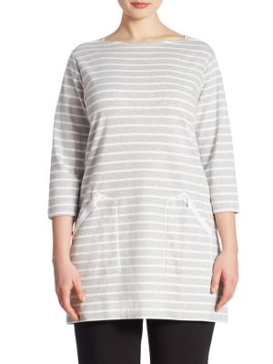 Striped Pima Cotton Interlock Tunic by joan vass