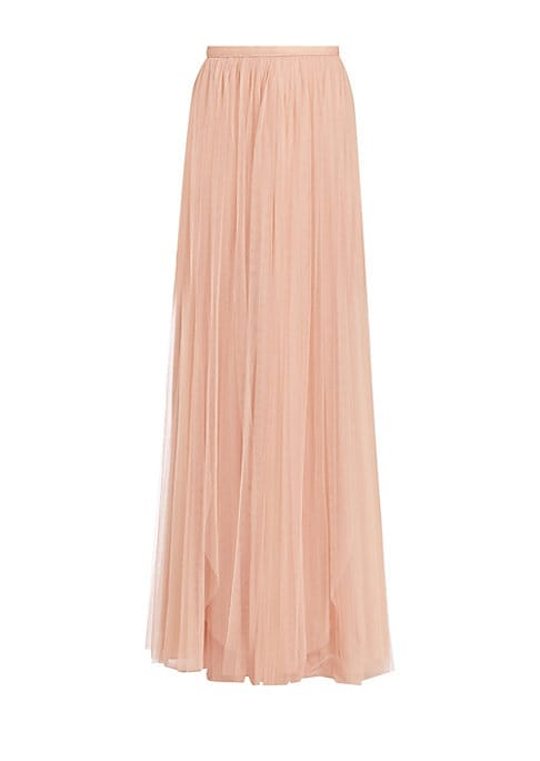"Image of Flowing A-line skirt in feminine tulle. Banded waist. Concealed back zip. Lined. About 47"" long. Polyester. Dry clean. Imported. Model shown is 5'10"" (177cm) wearing US size 4."