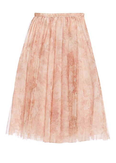 """Image of Ethereal A-line skirt in ladylike printed tulle. Banded waist. Concealed back zip. Lined. About 28"""" long. Polyester. Dry clean. Imported. Model shown is 5'10"""" (177cm) wearing US size 4."""