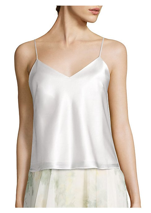 "Image of Alluring chic camisole in a luxurious finish.V-neck. Spaghetti straps. Pullover style. Lined. About 21"" from shoulder to hem. Polyester. Dry clean. Imported. Model shown is 5'10"" (177cm) wearing US size 4."