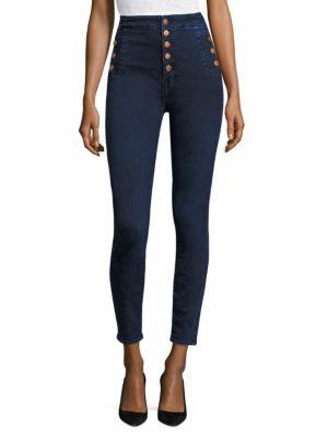 Natasha Sky High Buttoned Skinny Jeans/Throne