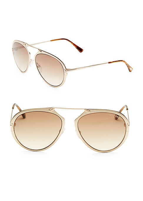 Image of Shiny goldtone pilot sunglasses with tonal lenses.55mm lens width; 18mm bridge width; 145mm temple length.100% UV protection. Gradient lenses. Adjustable nose pads. Metal. Made in Italy.