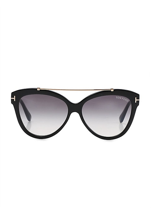 Image of Soft cat eye silhouette with sleek metal bridge bar.56mm lens width; 16mm bridge width; 140mm temple length.100% UV protection. Gradient smoke lenses. Adjustable nose pads. Acetate/metal. Made in Italy.