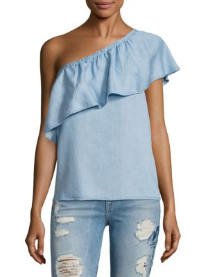 One Shoulder Chambray Blouse by 7 For All Mankind