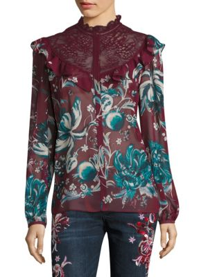 Silk Floral Lace Blouse by Roberto Cavalli