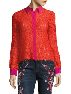 Floral Lace Silk Blouse by Roberto Cavalli