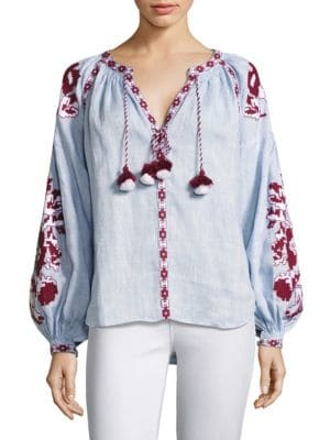 Embroidered Hi-Lo Linen Blouse by 11-Mar