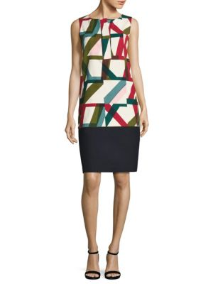 Abstract Geo-Print Shift Dress by Lafayette 148 New York