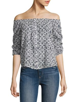 Savannah Off-the-Shoulder Floral-Printed Top by PAIGE