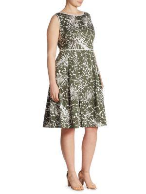 Zoe Palm-Print Dress