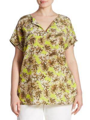 Joanie Floral-Print Silk Blouse by Lafayette 148 New York, Plus Size