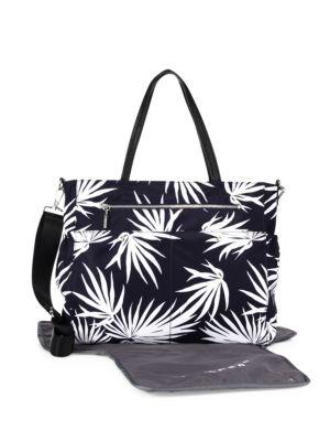 MILLY MINIS Palm-Print Diaper Bag, Navy