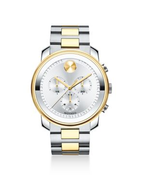 Two-Tone Stainless Steel Chronograph Bracelet Watch, Silver/ Gold