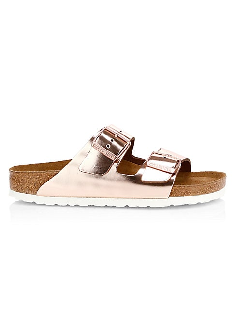Image of Casual-cool buckle sandals with a shimmering foiled finish. Leather upper. Narrow fit. EVA sole. Padded insole. Made in Germany.