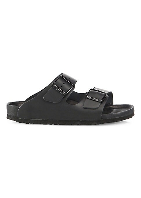 Image of Double-banded leather slide with adjustable buckles. Leather upper. Open toe. Slip-on style. Narrow fit. Leather lining. EVA sole. Imported.