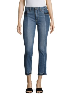 Taylor Pieced Raw-Edge Straight-Leg Jeans