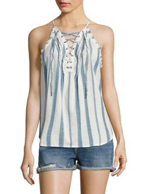 Bria Striped Lace-Up Tank Top by PAIGE