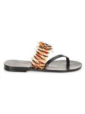 ÁLVARO GONZÁLEZ Alberta Asymmetric Feather Sandals in Pink Brown