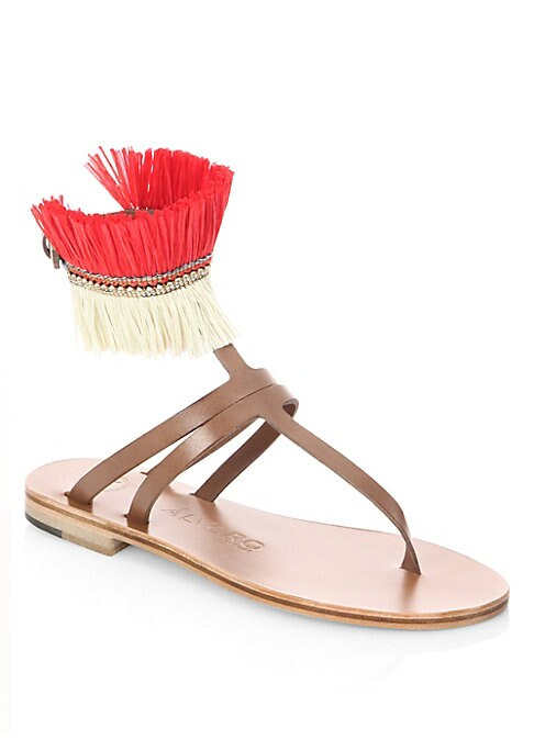 Image of Sandals featuring feather detailed ankle strap. Leather/feather upper. Open toe. Adjustable ankle buckle closure. Leather lining. Leather sole. Made in Italy.