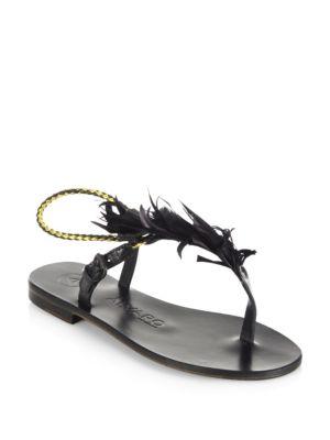 ÁLVARO GONZÁLEZ Andreina Leather Sandals in Black
