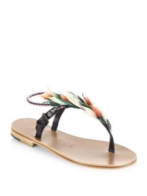 ÁLVARO GONZÁLEZ Asymmetric Feather Sandals in Multi