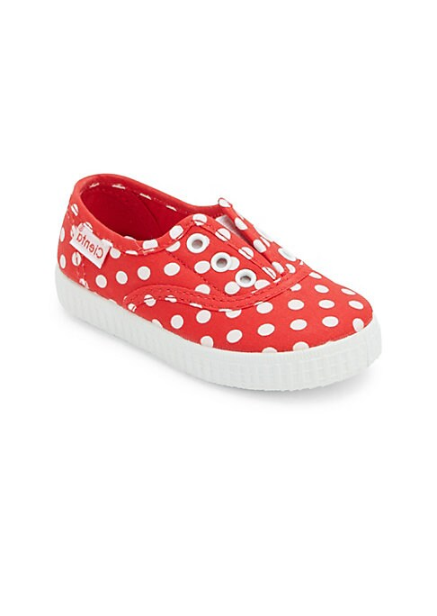 Image of Fun polka dots accent these canvas sneakers. Lace-up style. Canvas upper. Canvas lining. Rubber sole. Made in Spain.