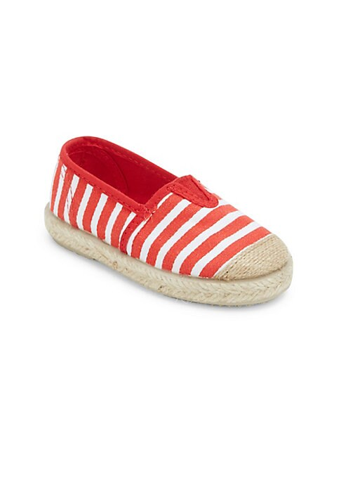 Image of Relaxed stripes punctuate these espadrilles. Cap toe. Elastic goring. Jute wrapped midsole. Slip-on style. Canvas upper. Textile lining. Rubber sole. Made in Spain.