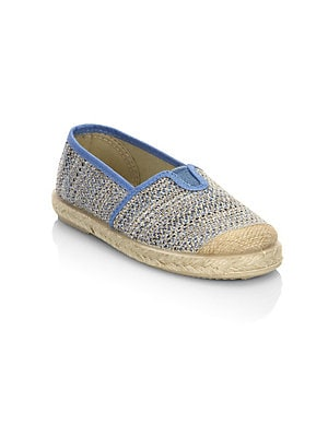 Image of Breathable crochet canvas sneakers with espadrille base. Canvas upper Slip-on style Rubber sole Made in Spain. Children's Wear - Children's Shoes. Cienta. Color: Blue. Size: 20 EU/ 4.5 US (Baby).