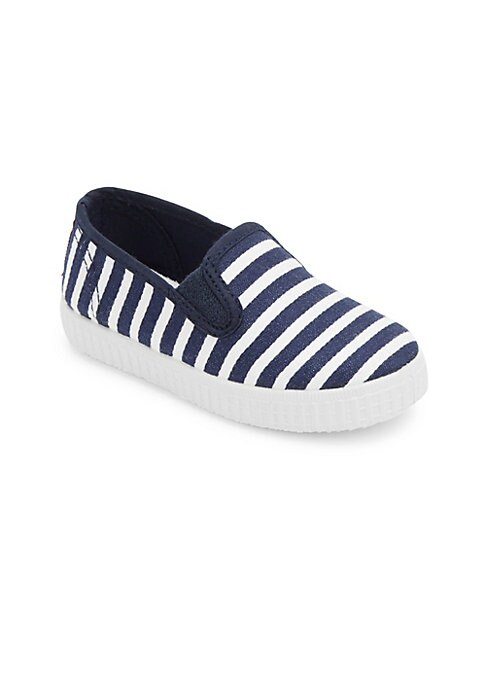 Image of Contrast stripes accentuate these canvas sneakers. Elastic goring. Slip-on style. Canvas upper. Canvas lining. Rubber sole. Made in Spain.