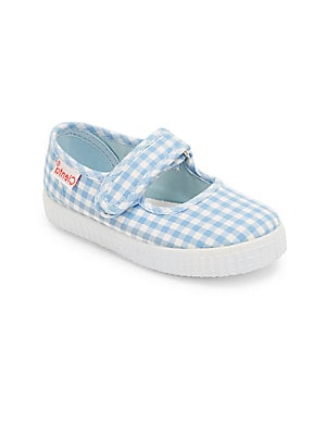 Image of Neat gingham checks adorn these Mary jane flats Adjustable grip tap strap Canvas upper Canvas lining Rubber sole Made in Spain. Children's Wear - Children's Shoes > Saks Fifth Avenue. Cienta. Color: Navy. Size: 34 EU/ 2.5 US (Child).