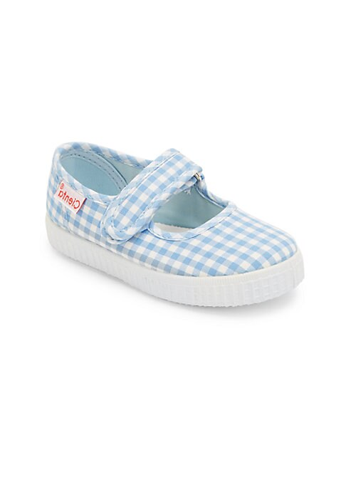 Image of Neat gingham checks adorn these Mary jane flats. Adjustable grip tap strap. Canvas upper. Canvas lining. Rubber sole. Made in Spain.