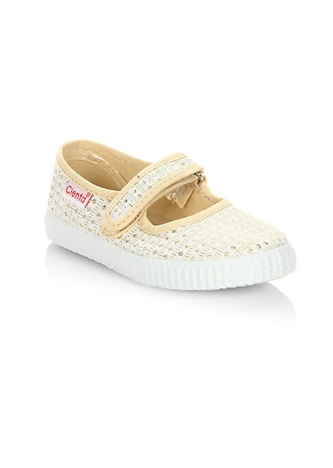 Image of Breathable canvas Maryjane flats in crochet construction. Canvas upper. Grip-tape strap. Rubber sole. Made in Spain.