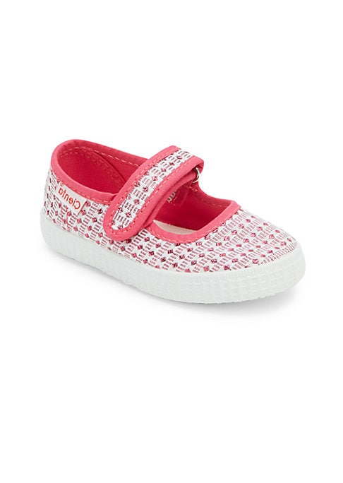 Image of Charming crochet accents highlight these Mary janes. Adjustable grip tap strap. Textile upper. Textile lining. Rubber sole. Made in Spain.
