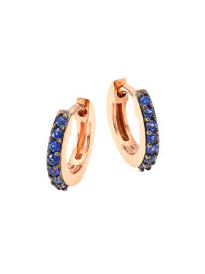 """Image of From the Halo Collection. Dainty hoop inset with brilliant-cut blue sapphire. Blue sapphire.14K rose gold. Diameter, 0.4"""".Hinge closure. Imported."""