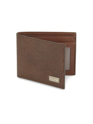 "Image of Casual wallet featuring metal brand logo detail. One bill compartment. Two pockets. Three card slots.4""W x 3""H.Calf leather. Made in Italy."