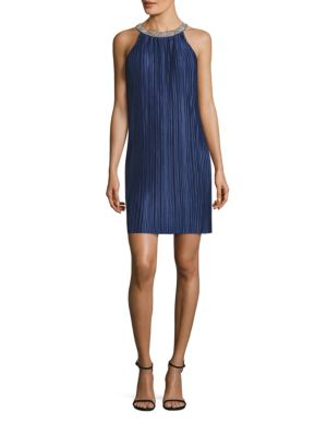 "Image of Allover accordion pleats re-define this dress. Jewelneck. Sleeveless. Concealed back zip. Back keyhole. Lined. About 33"" from shoulder to hem. Polyester. Dry clean. Imported. Model shown is 5'10"" (177cm) wearing US size 4."