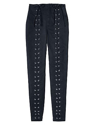"""Image of Cropped high-rise pants with statement lace-up front Banded waist Zip fly with concealed closure Front lace-up detail Back welt pockets Rise, about 12"""" Inseam, about 28"""" Leg opening, about 11"""" Cotton/elastane Dry clean Made in USA of imported fabric Model"""