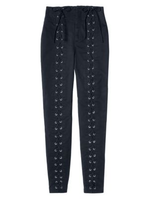 Kingsley Lace-Up Stretch-Cotton Pants, Midnight from BARNEYS WAREHOUSE