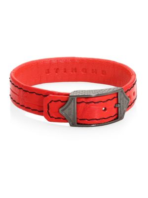 STINGHD Luxe Leather Bracelet in Red