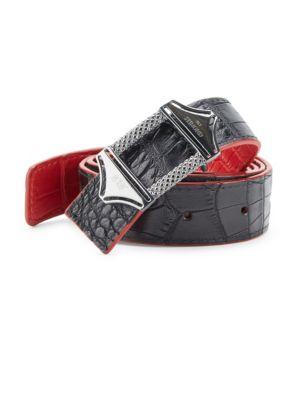 STINGHD Reversible Croc-Embossed Leather Belt in Black