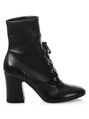 Stretch Leather Lace-Up Block Heel Booties, Black