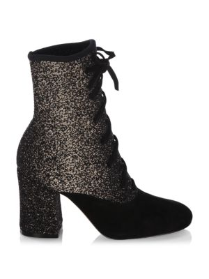 """Image of .Lace-up booties featuring printed design. .Covered heel, 3.34"""" (85mm). .Suede/polyamide upper. .Round toe. .Lace-up vamp. .Authentic card included. .Dust bag included. .Kid leather lining. .Calf leather sole. .Made in Italy. ."""